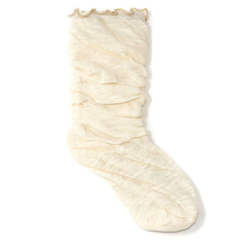 Ivory Cotton Slouch Socks