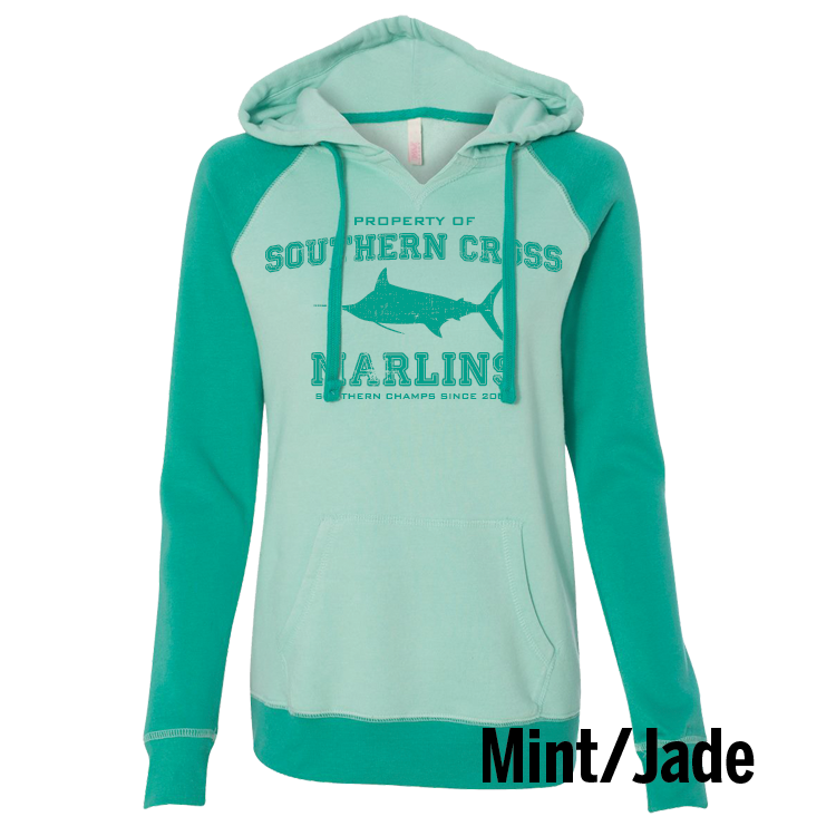 Go Marlins Raglan Ladies Hooded Sweatshirt, Sweatshirt - Southern Cross Apparel