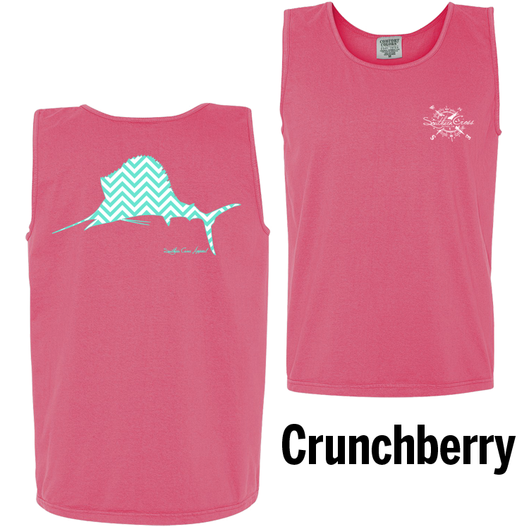 Chevron Sailfish T/W Tank Top Crunchberry Small, Tank Tops - Southern Cross Apparel