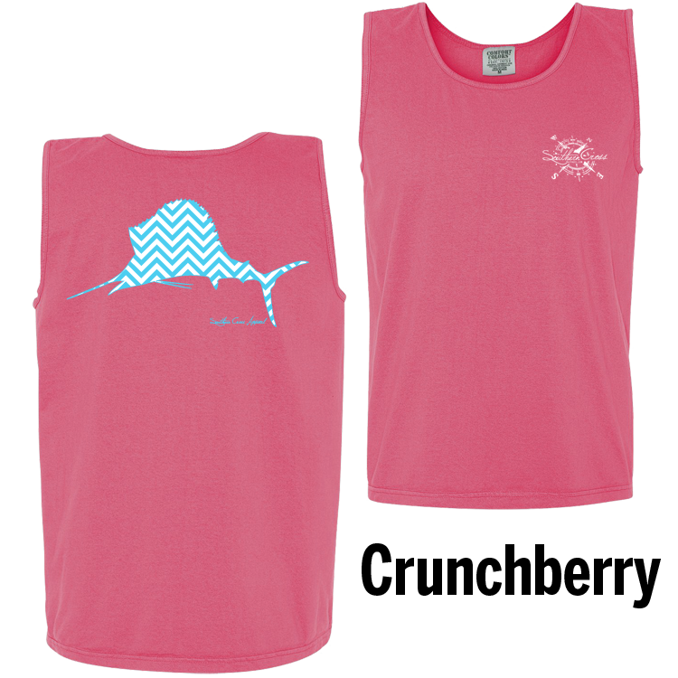 Chevron Sailfish A/W Tank Top Crunchberry Small, Tank Tops - Southern Cross Apparel