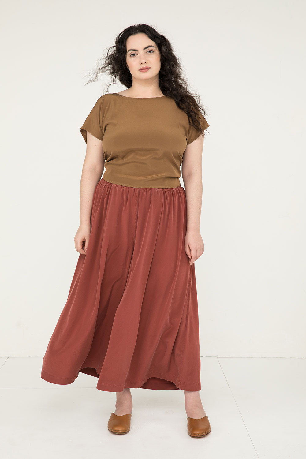 Andy Palazzo in Silk Crepe Rust - Yasmin-XL Regular