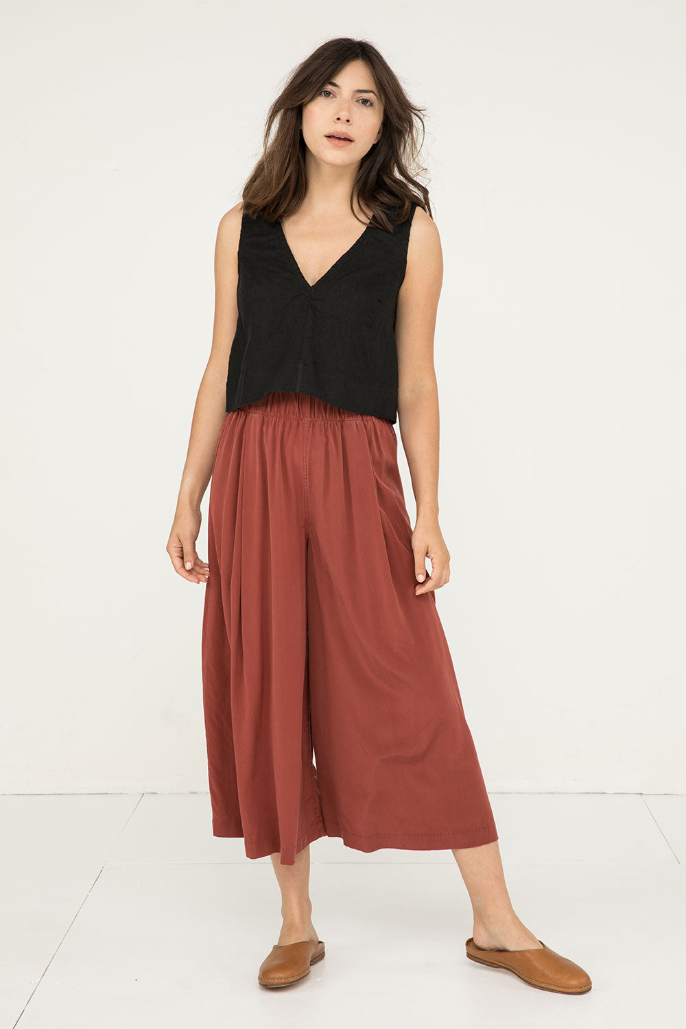 Andy Palazzo in Silk Crepe Rust - Molly-XS Small