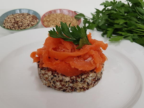 Atlantic Salmon  on Organic Quinoa and Buckwheat. grain and gluten free