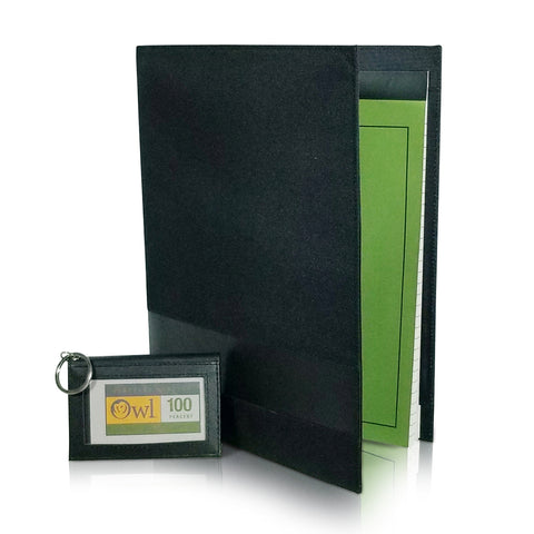 "OWL Two-Fold Blk RECYLED Leather ID Card Wallet + Bundle with + OWL RECYCLED 8.5"" x 11"" PadCover"
