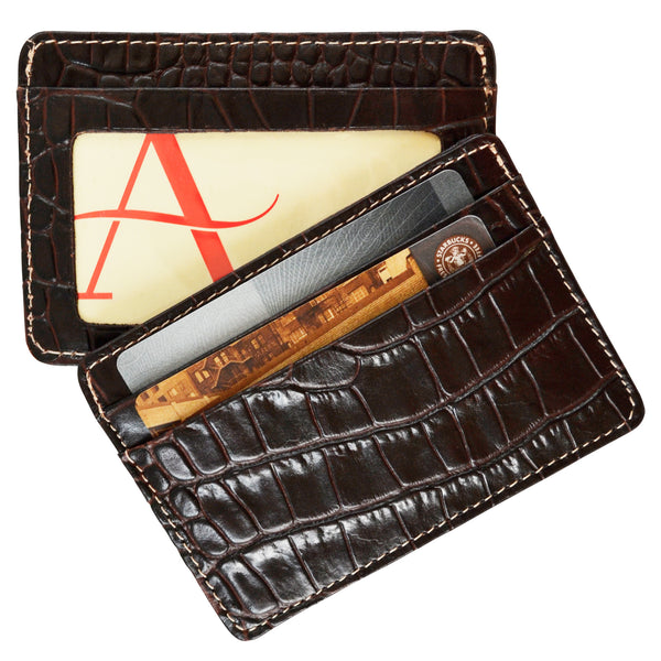 Alicia Klein leather card holder, dark chocolate brown croco