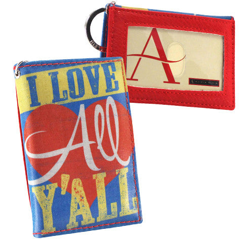 Vegan compact two-fold ID wallet - Southern Gal gift - Love y'All