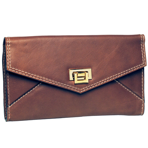 Alicia Klein leather crossbody clutch, toffee brown