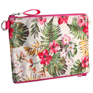 Double Zipper Pouch - Pink Hibiscus