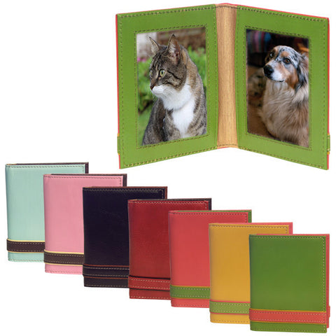 "Italian Leather Photo Frame - Double 2.5"" x 3.5"""