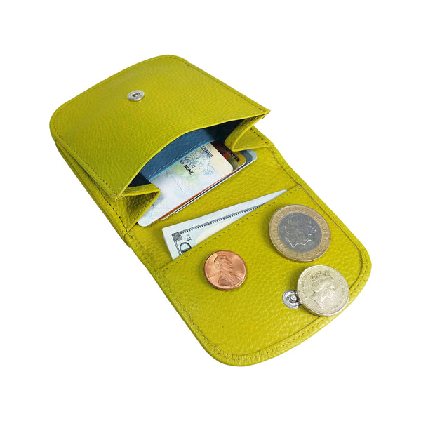 """Daiquiri Green"" Taxi Wallet. Italian Leather. Minimalist. Folding Wallet for Cards, Coins & Bills."