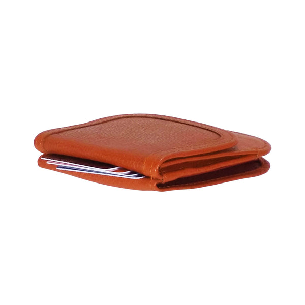 """Pumpkin Spice"" Taxi Wallet.  Italian Leather.  Minimalist.  Folding Wallet for Cards, Coins and Bills."