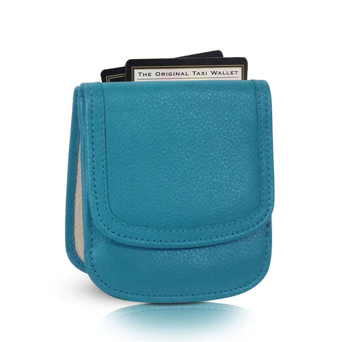 """Turquoise"" Taxi Wallet.  Italian Leather.  Minimalist.  Folding Wallet for Cards, Coins and Bills."