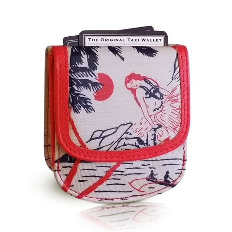 VINTAGE HAWAII - Small Folding Minimalist Card Wallet for Women Coin Purse by TAXI WALLET®
