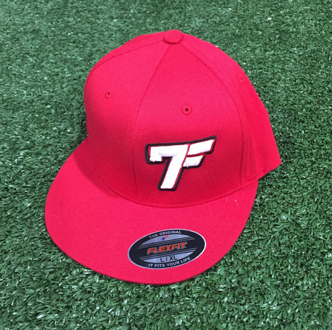 7Five Original 7F fitted flat bill - Red - 7Five Clothing Co.