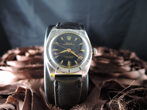 1949 Rolex BUBBLEBACK 5015 with Original Black Gilt Dial and Gold Markers