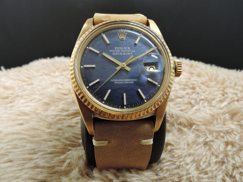 1972 Rolex DATEJUST 1601 18K YG with Original Blue Texture Dial and Papers