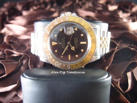 Rolex GMT MASTER 2-Tone 16753 Brownish Nipple Dial