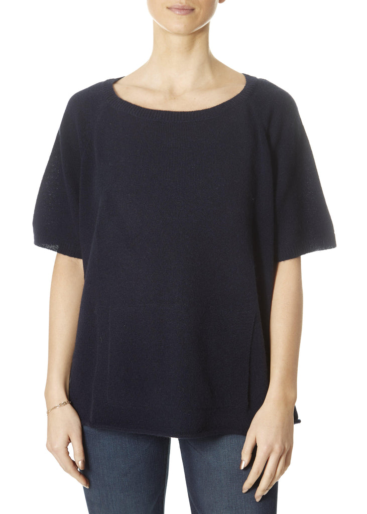 'Alyn' Navy Scoop Neck Top With Pocket | Jessimara London