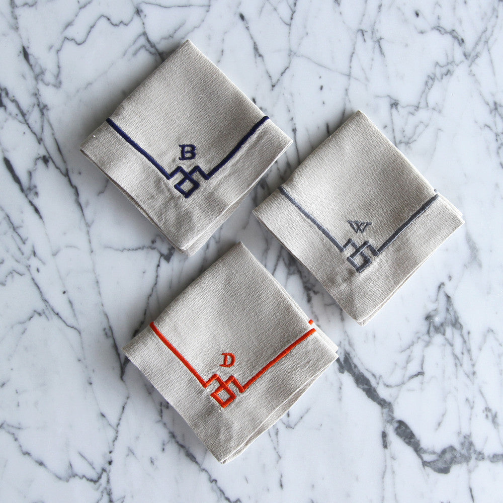 Chinoiserie Linen Cocktail Napkins