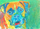 Boxer dog gift idea  Dog Painting Print , colorful acrylic and pastel boxerdog portrait, 8x10, 11x14, signed boxer dog painting art print - Dog portraits by Oscar Jetson
