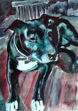 Staffordshire bull terrier dog painting print, staffie Portrait, blue Print of acrylic staffy dog painting, staffie lover gift dog picture - Dog portraits by Oscar Jetson - 1