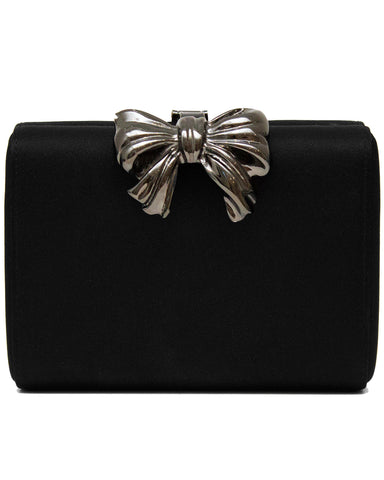 Black Satin Clutch with Metal Bow Detail