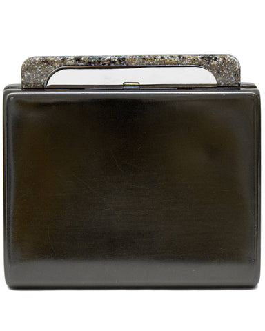 Pewter Minaudiere Clutch with Faux Granite Detailing