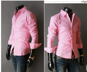 Spring French Plaid  Long Sleeve Collar Shirts - Casual Shirts - eDealRetail - 3