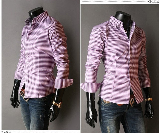 Spring French Plaid  Long Sleeve Collar Shirts - Casual Shirts - eDealRetail - 8