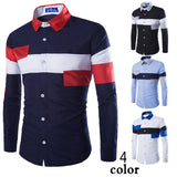 2016 European Striped Long Sleeve Dress Shirts - Dress Shirts - eDealRetail - 2