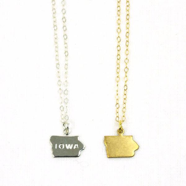 Iowa Home Charm Necklace