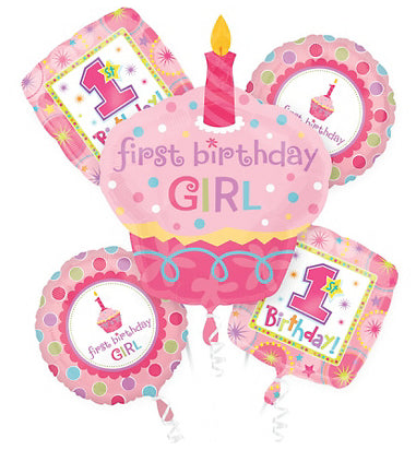 1st or First Birthday Pink Balloons for Baby Girl - mumsbuddy.com