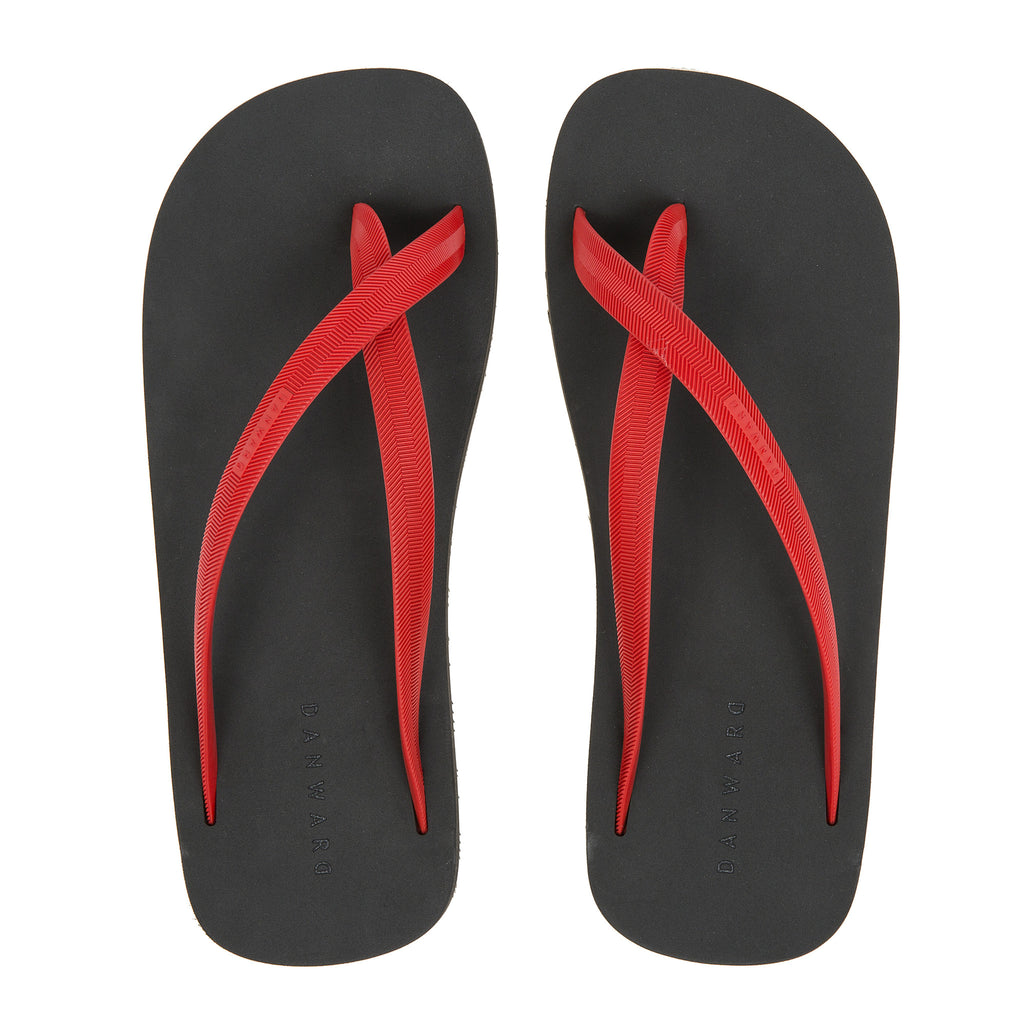 Bicolored cross toe flip-flop, black with red