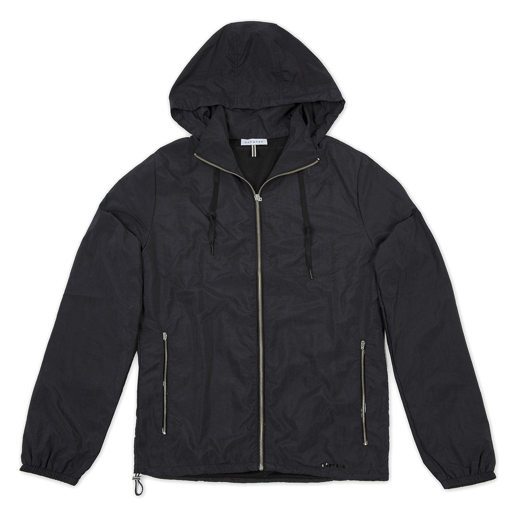 Nylon hooded windbreaker with mesh lining