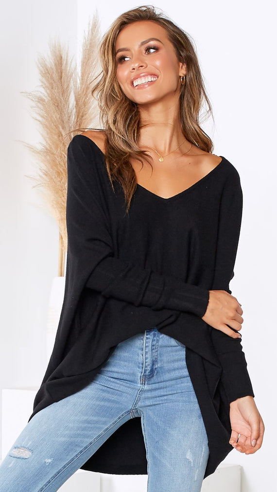 Amalia Knit Top - Black