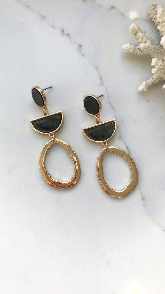 Josiah Earrings - Gold/Black