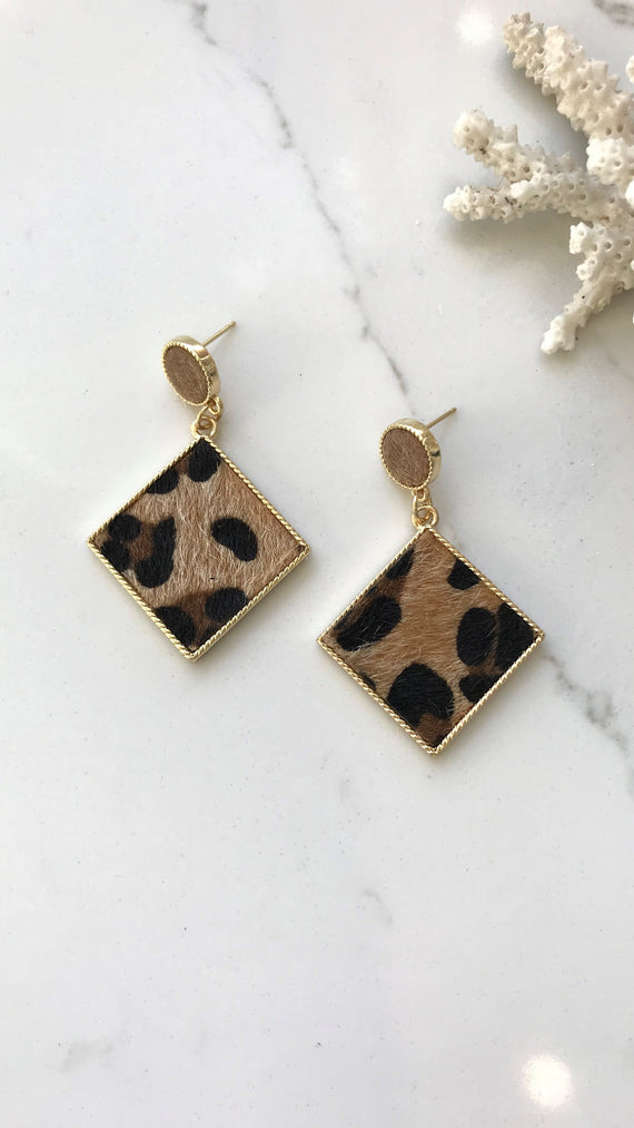 Danielle Earrings - Gold/Leopard