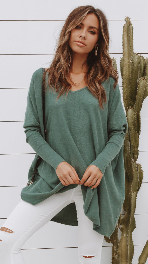 Amalia Knit Top - Forest Green