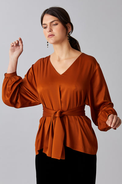 BELTED SATIN TOP