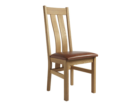 European Acorn Oak - dining chair - wide slatted shaped back with seat pad options