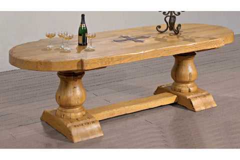 Chateau French Mountain Oak Plank Top Monastery Table