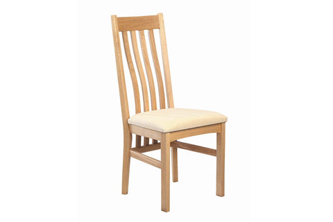 European Acorn Oak - dining chair - shaped back with seat pad options