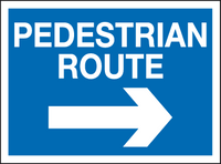 Pedestrian route arrow right sign