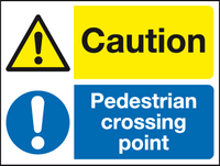 Caution Pedestrian crossing point sign