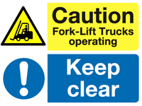 Caution Fork-lift trucks Keep Clear sign - MJN Safety Signs Ltd