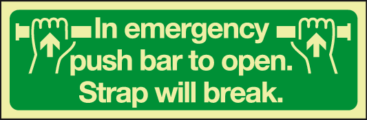 Phoptoluminescent In emergency push bar to open sign