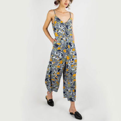 All over print jumpsuit with cami straps, culotte leg, a V front and a low back.