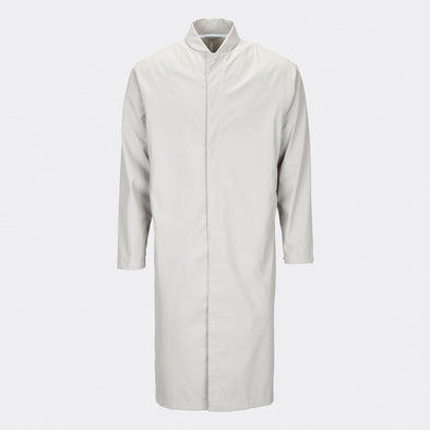 Moon colored classic yet functional unisex raincoat inspired by the timeless mackintosh coat.