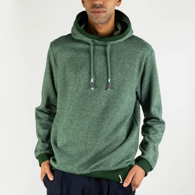 Regular fit green hoodie with strings and kangaroo pocket.