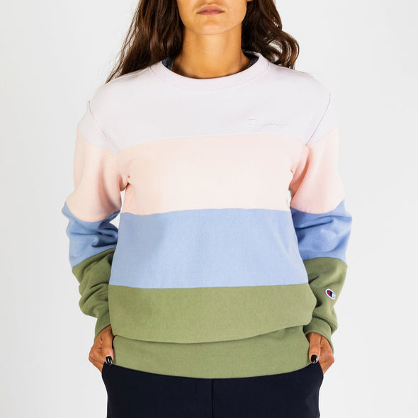 Bold stripe sweatshirt topped with tonal logo embroidery.